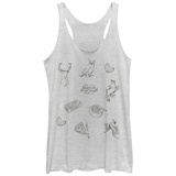 Juniors Tank Top: Twin Peaks- Clue Sketches Scoop Neck Womens Tank Tops
