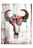 Bull Floral Crown Art by Jace Grey