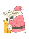 """Trump Santa looks at his list of """"Naughty"""" and Naturalized"""" people. - New Yorker Cartoon Premium Giclee Print by Danny Shanahan"""