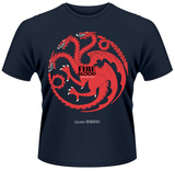 Game Of Thrones- Fire And Blood Button Sigil T-shirts