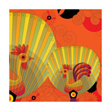 Nature Fan, Rooster Color Giclee Print by Belén Mena
