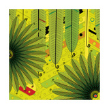 Nature Fan, Green Leaves Color Giclee Print by Belén Mena