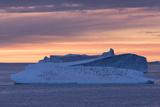 Penguins Float on an Iceberg under the Midnight Sun Just Outside Deception Island Impressão fotográfica por Jeff Mauritzen