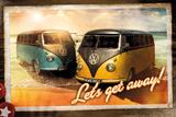 VW- Lets Get Away Camper Vans Poster