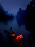 The Li River at Night in Guilin, Guangxi Province, China Photographic Print by Tino Soriano