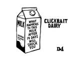"""TITLE: Clickbait DairyMilk carton reading """"what happens to this milk afte... - New Yorker Cartoon Premium Giclee-trykk av Drew Dernavich"""