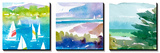 Sailboats and Lake I Triptych Affiche