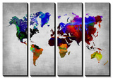 World Watercolor Map 12 Print van  NaxArt