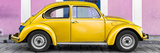 ¡Viva Mexico! Panoramic Collection - The Gold VW Beetle Car with Light Pink Street Wall Reproduction photographique par Philippe Hugonnard